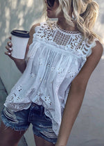 Women Casual Lace Round Neck Sleeveless Hollow Out See-Through Elastic Tops
