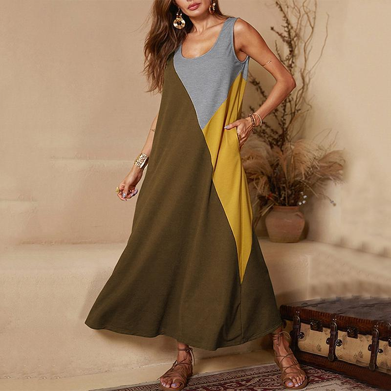 Casual Round Neck Splicing Contrast Color Contrast Color Dress