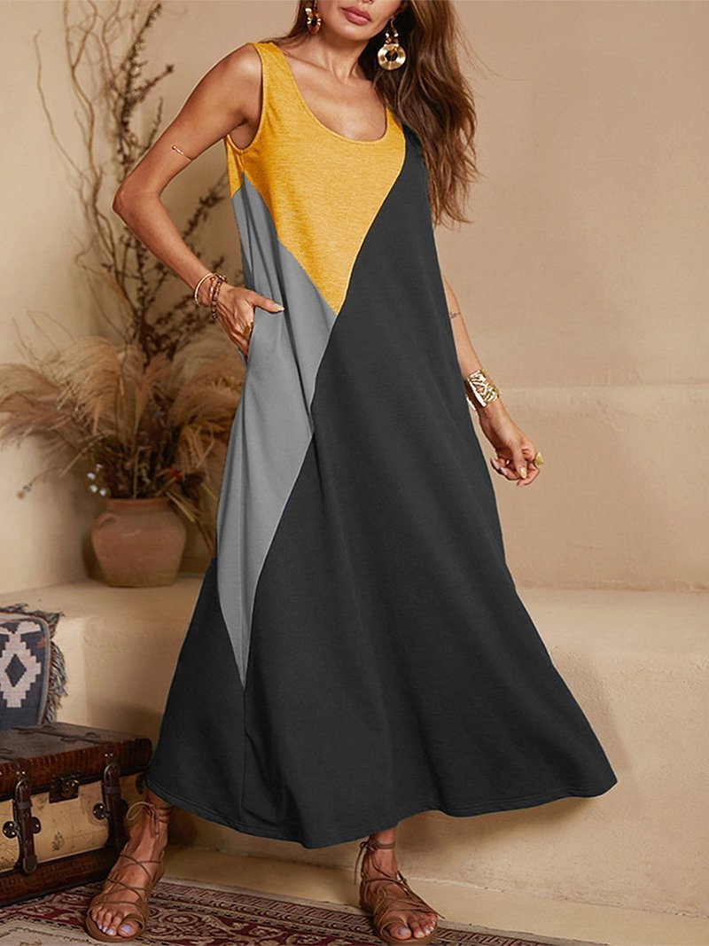 Women Casual Round Neck Splicing Contrast Color Contrast Color Dress