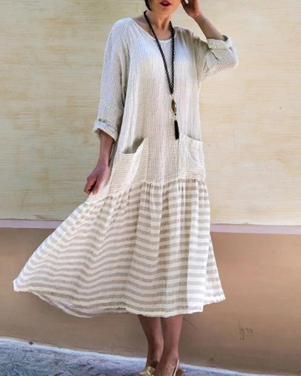 Women Striped  Long Sleeve Vintage Loose Patchwork Swing Maxi Dress - nayachic