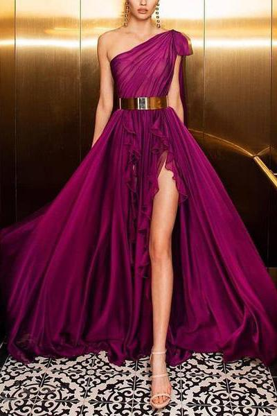 Women Elegant Irregular Belted Ruffled Sloping Shoulder Evening Dress