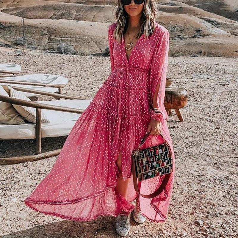 Boho V Neck Long Sleeve Polka Dot Pleated Vacation Maxi Dress