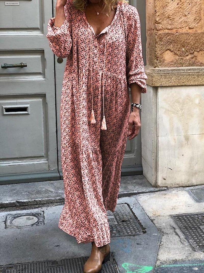 Women Bohemian Flower Print Long Sleeve V-Neck Routine Casual Maxi Dress