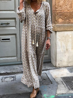 Bohemian Flower Print Long Sleeve V-Neck Routine Casual Maxi Dress