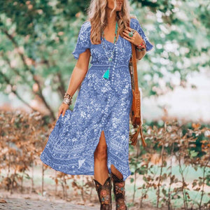 Boho V Neck Floral Pattern Open Fork Dress