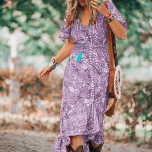 Women Boho V Neck Floral Pattern Open Fork Dress