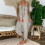 Casual Loose Cotton And Linen Straps Jumpsuits