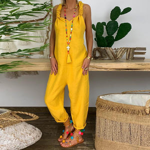 Women Casual Loose Cotton And Linen Straps Jumpsuits