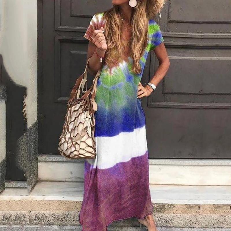 Women Bohemian Printed Round Neck Short Sleeve Loose Casual Dress