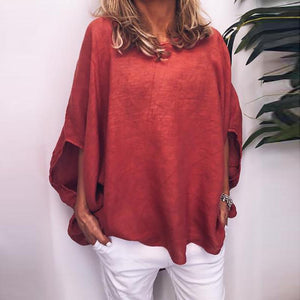 Women Casual Pure Colour Short Sleeve Round Neck Loose Top