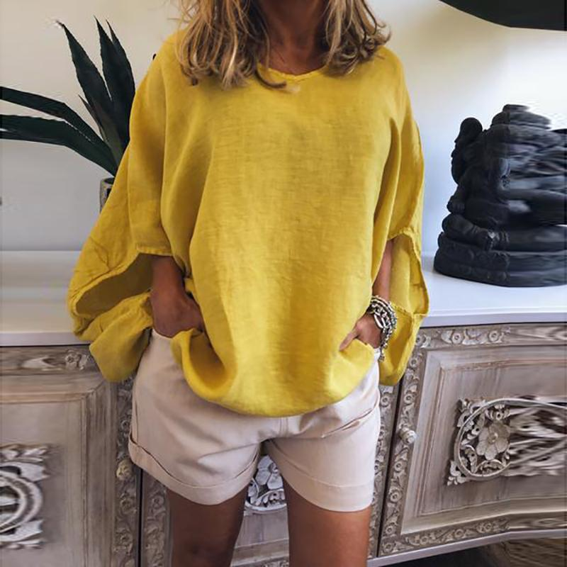 Casual Pure Colour Short Sleeve Round Neck Loose Top
