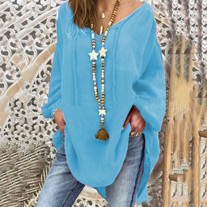 Athleisure V Neck Long Sleeve Pure Colour Loose Top