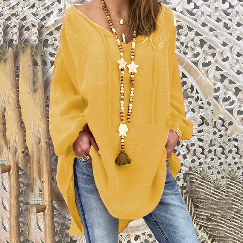 Women Athleisure V Neck Long Sleeve Pure Colour Loose Top