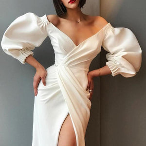 Commuting V Neck Bubble Sleeves Irregular Pure Colour Evening Dress