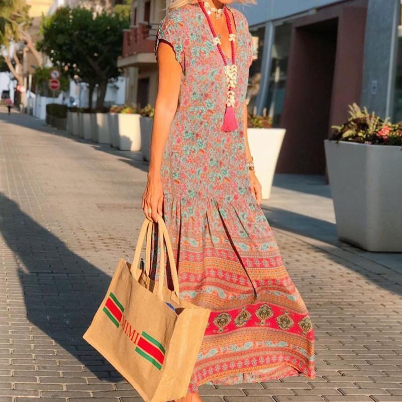 Women Boho V Neck Printed Ruched Dress