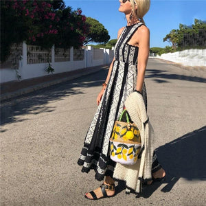 Women Color Stitching Embroidered Lace Casual Vacation Maxi Dress