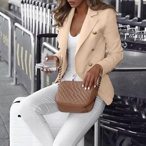 Women Commuting Suit Collar Double-Breasted Pure Colour Blazer