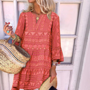 Women Boho Three Quarter Flared Sleeve Loose Print Dress
