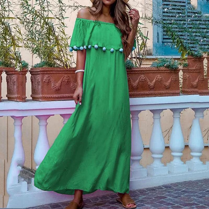 Women Bohemian Pure Colour Boat Collar Cotton Ball Tassel Long Vacation Casual Maxi Dress