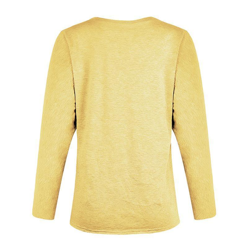 Women Casual Deep V Long Sleeve Solid Color T-Shirts
