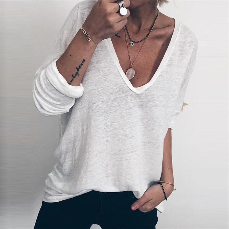 Casual Deep V Long Sleeve Solid Color T-Shirts