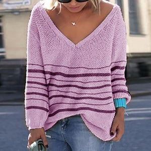 Brief Long Sleeve Pure Color V Neck Sweater