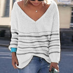 Women Brief Long Sleeve Pure Color V Neck Sweater