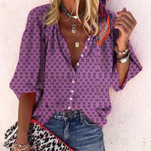 Casual Printed Round Neck With Buttons Halflong Sleeve Shirt