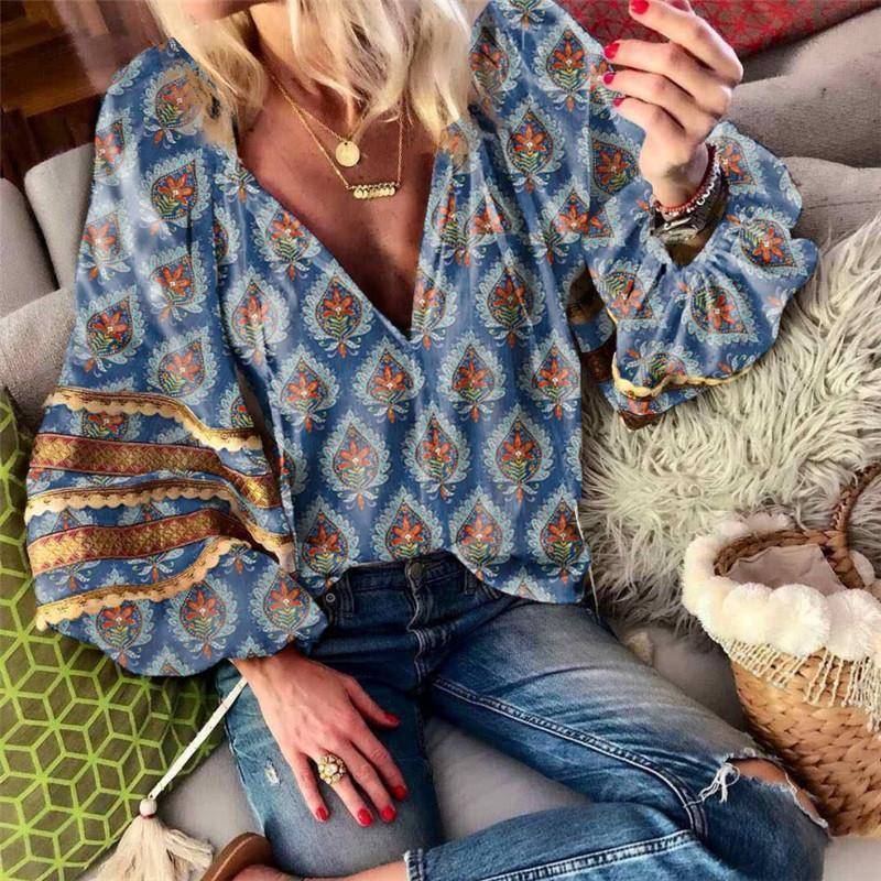Women Boho V-Neck Long Lantern Sleeve Printed Shirt