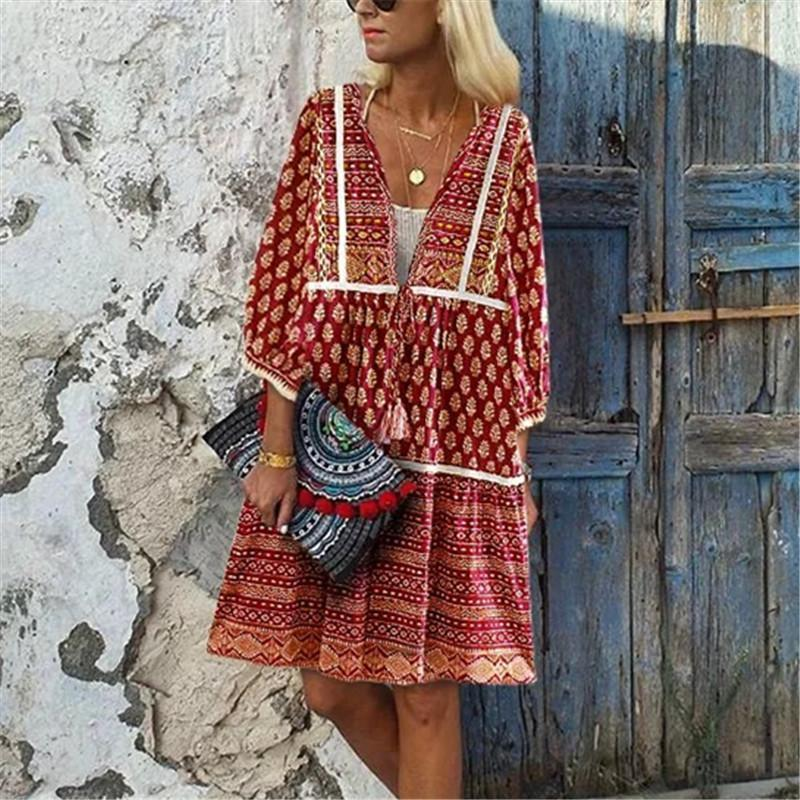 Women Boho Printed Three Quarter Sleeve A-Line Casual Mini Dress