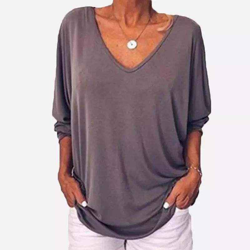 Casual Loose V Neck  Batwing Sleeve Top