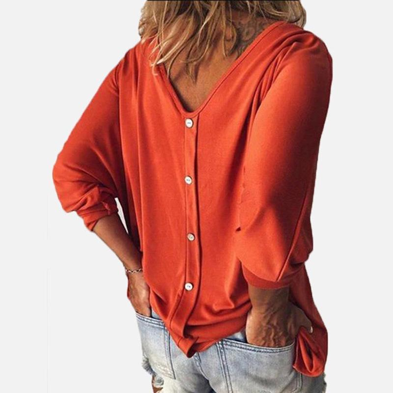 Women Casual Loose V Neck  Batwing Sleeve Top