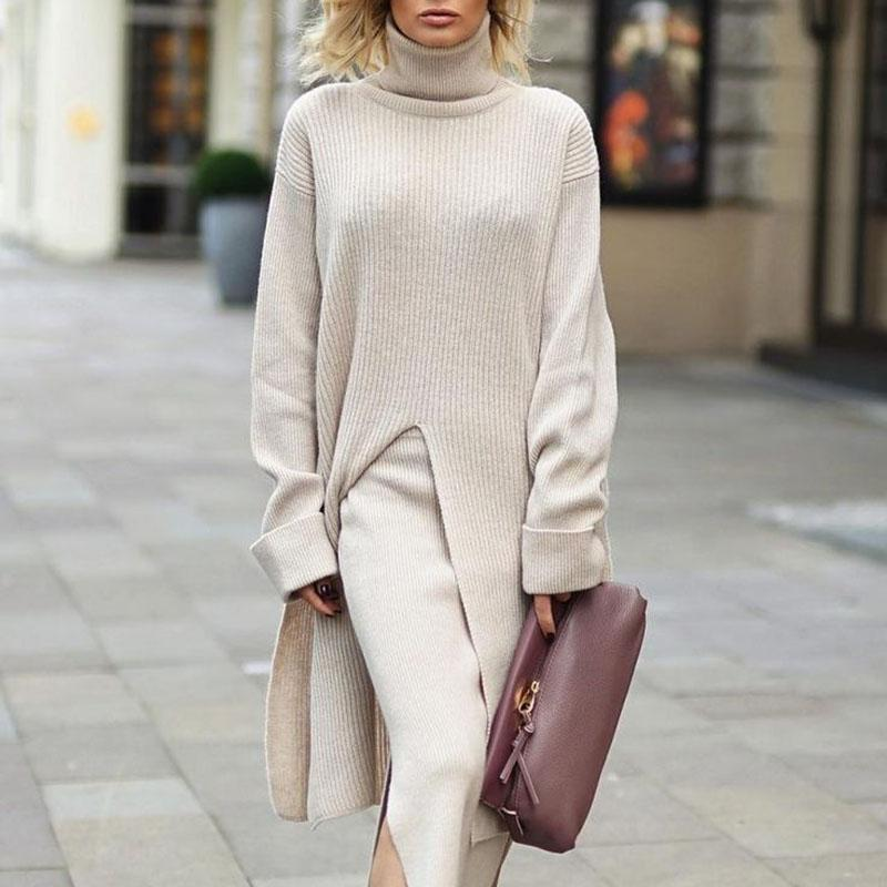 Casual Solid Color High Collar Long Sleeve Split Long Sweater