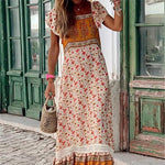 Women Bohemian Printed Square Ruffle Short Sleeve Panel Casual Maxi Dresses