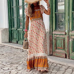 Bohemian Printed Square Ruffle Short Sleeve Panel Casual Maxi Dresses