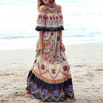 Bohemian Boat Neck Printed Colour Off-Shoulder Dress