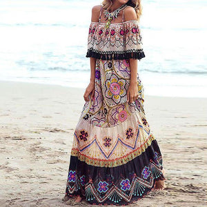 Women Bohemian Boat Neck Printed Colour Off-Shoulder Dress