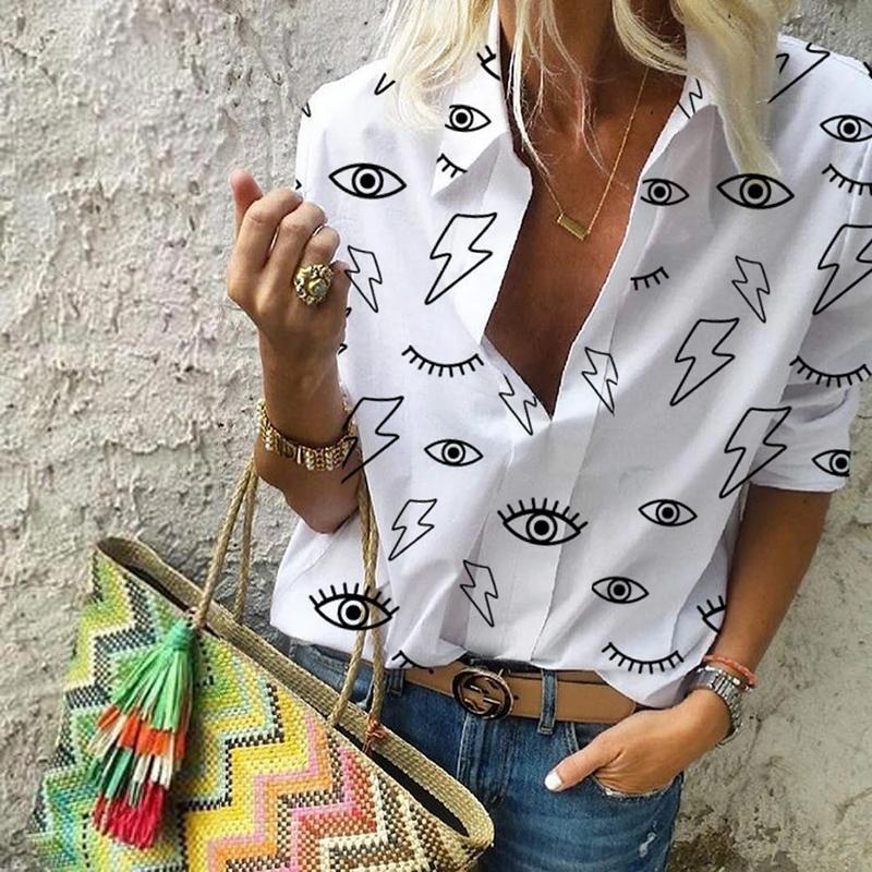 Women Casual Short Sleeve Printed Shirt