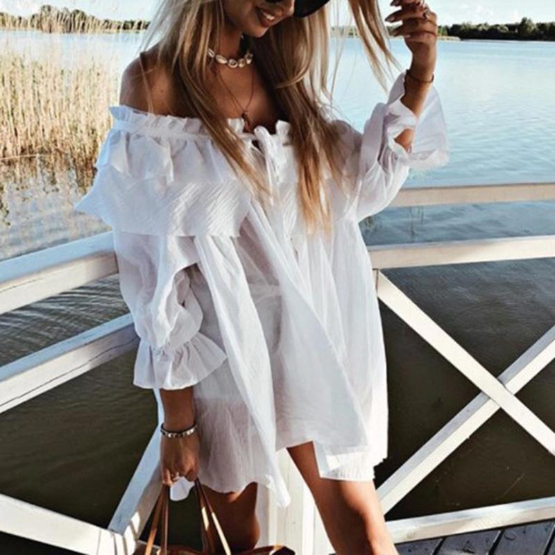 Women Casual Boat Neck Lace-Up Collar Ruffled Loose Blouse