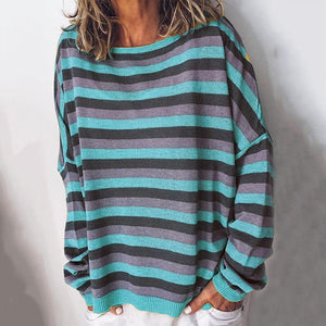 Women Casual Striped Round Neck Long Sleeve Loose T-Shirt