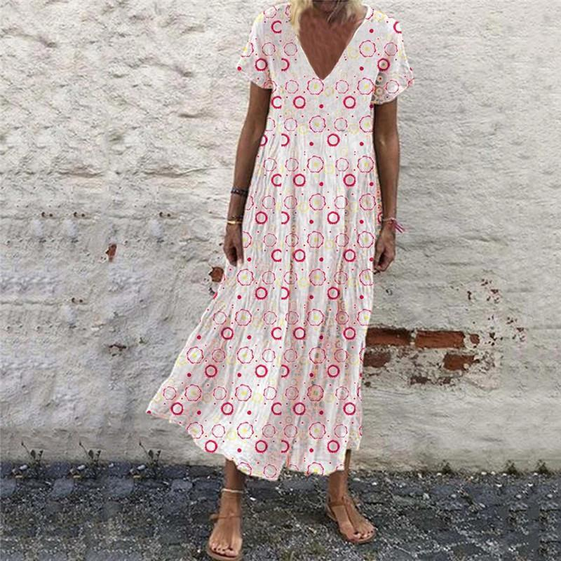 Bohemia Printed V Neck Casual Maxi Dress