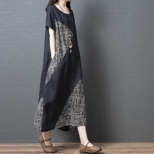 Women Casual Cotton And Linen Short-Sleeved Round Neck Print Dress