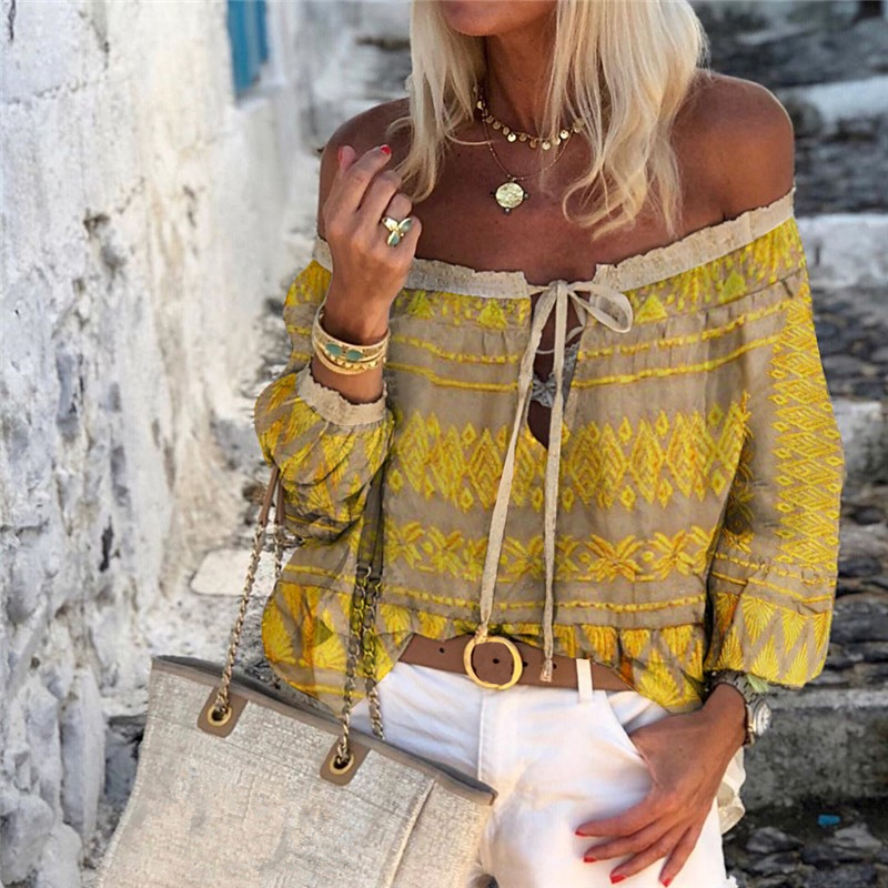 Women Boho Printed Off Shoulder Lace-Up Long Sleeve Shirt