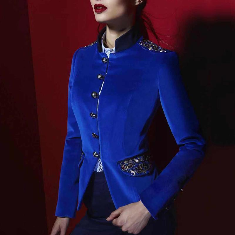 Women Classic Stand Collar Pockets With Embroifery Buttons Jacket