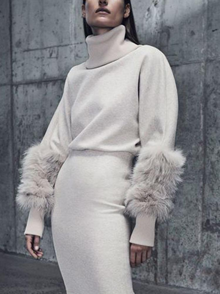 Women Elegant Heap Collar Fluffy Long Sleeve Plain Sweater