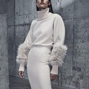 Elegant Heap Collar Fluffy Long Sleeve Plain Sweater
