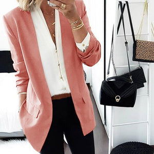 Women Brief Long Sleeve Pure Colour Loose Women Medium Blazer
