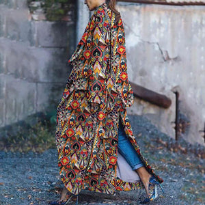 Bohemian Long Sleeve Printed Colour Loose Cotton Dress&Overcoat &Down Jacket