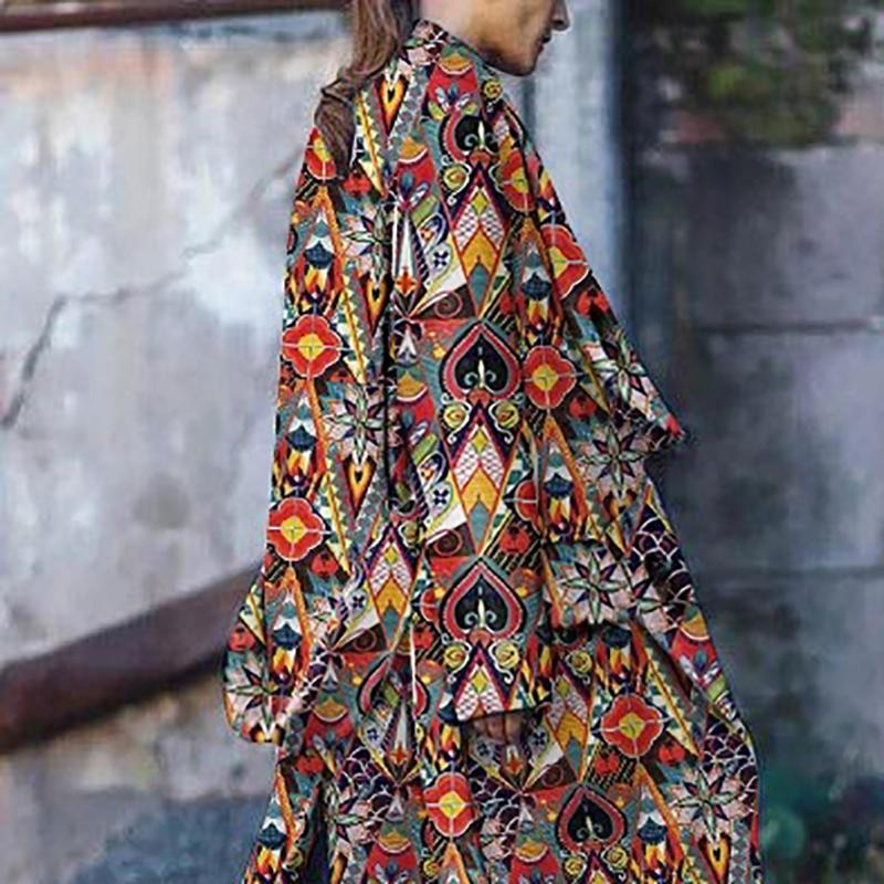 Women Bohemian Long Sleeve Printed Colour Loose Cotton Dress&Overcoat &Down Jacket