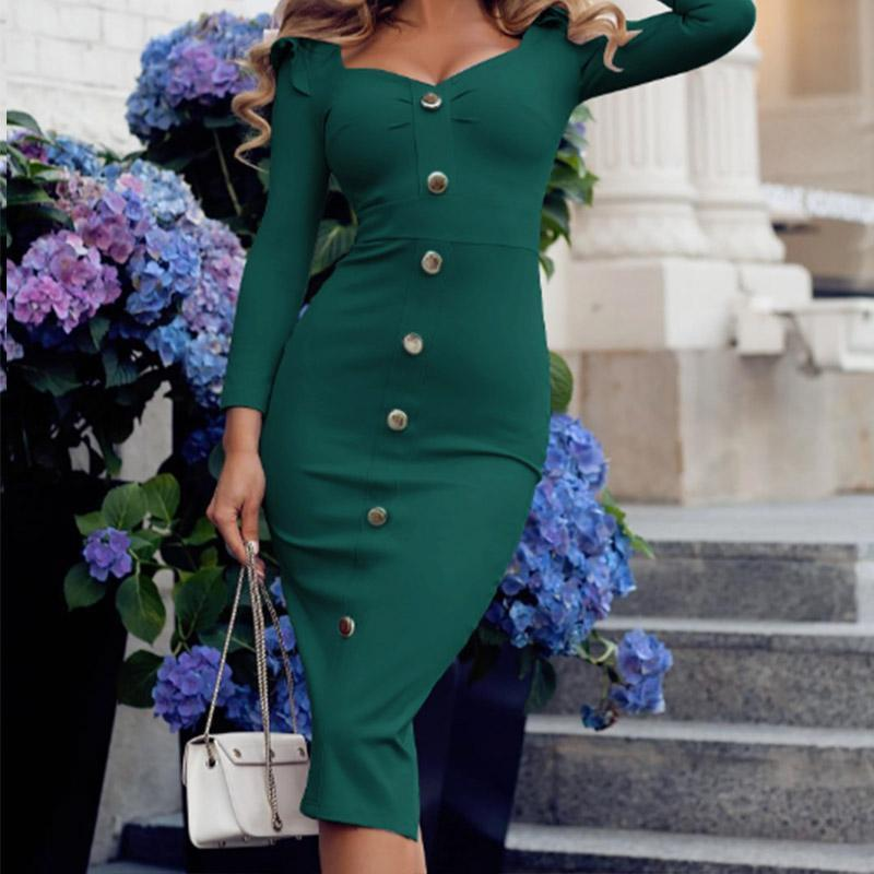 Women Elegant Ladies V-Neck Buckle Bag Hip Split Three-Quarter Sleeve Bodycon Dresses